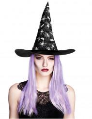 Chapéu de bruxa aranha com cabelos mulher Halloween