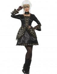 Disfarce barroco preto e dourado mulher