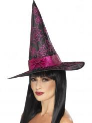 Chapéu bruxa preto e cor-de-rosa mulher Halloween