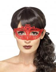 Máscara rendada vermelho mulher