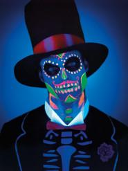Maquilhagem látex esqueleto fosforescente mulher Dia de los muertos