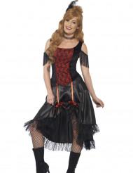 Disfarce saloon preto e vermelho sexy mulher