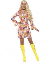Disfarce hippie flower cor de laranja mulher