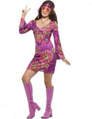 Disfarce hippie flower lilás mulher
