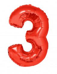 Balão alumínio número 3 vermelho