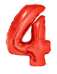Balão alumínio número 4 vermelho