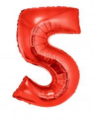 Balão alumínio número 5 vermelho