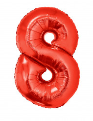 Balão alumínio número 8 vermelho