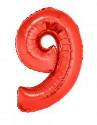 Balão alumínio número 9 vermelho