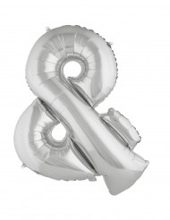 Balão alumínio gigante símbolo & prateado 80 cm