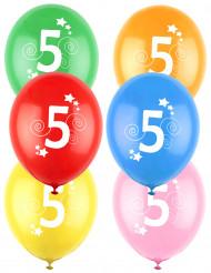 12 Balões coloridos número 5