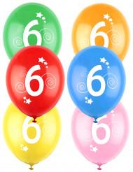 12 Balões coloridos número 6