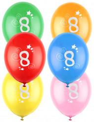 12 Balões coloridos número 8