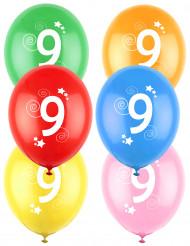 12 Balões coloridos número 9