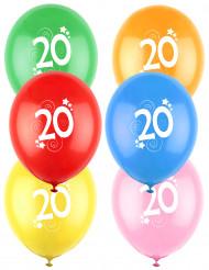 12 Balões coloridos número 20