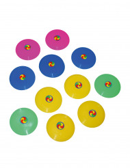 12 mini frisbees coloridos 7 cm