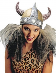 Capacete prateado Viking mulher com cabelo
