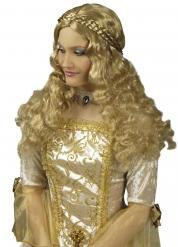 Peruca comprida com trança medieval mulher