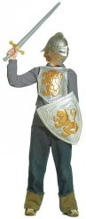 Kit cavaleiro cinzento e dourado criança