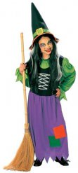 Disfarce bruxa colorida Halloween menina