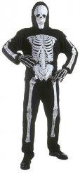 Disfarce esqueleto preto criança Halloween
