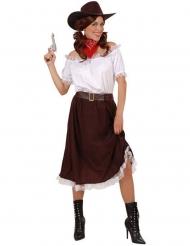 Disfarce cowgirl branco e castanho mulher