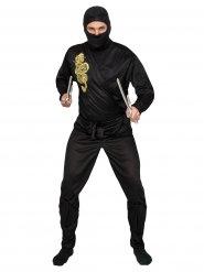 Disfarce ninja preto e dourado adulto