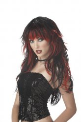 Peruca gótica preta e vermelha mulher