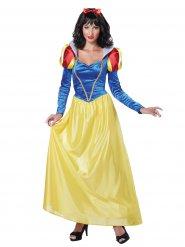 Disfarce princesa de conto de fadas azul e amarelo mulher