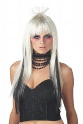 Peruca comprida branca e preta para mulher