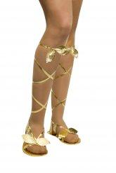 Sandálias gregas/romanas douradas mulher