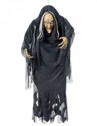 Decoração para pendurar bruxa preta e branca Halloween