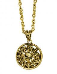 medalhão pirata dourado