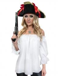Camisa pirata branca idade média - mulher