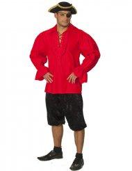 Camisa de pirata vermelha - homem