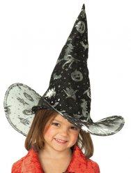 Chapéu de bruxa preto e prateado criança Halloween