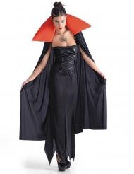 Capa vampiro mulher preta e vermelha Halloween