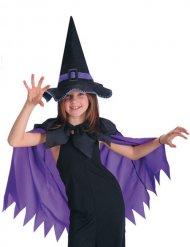 Capa lilás com chapéu de bruxa preto menina