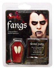 Dentes de vampiro brancos adulto com cola