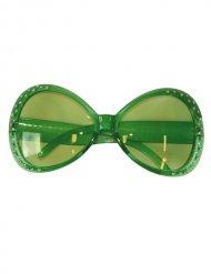 Óculos disco com brilhantes verdes mulher