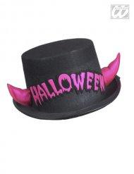 Chapéu alto preto com chifres cor-de-rosa Halloween