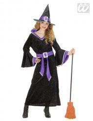 Disfarce de bruxa menina preta e lilás Halloween