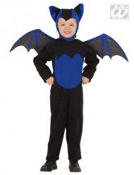 Disfarce morcego preto e azul criança Halloween