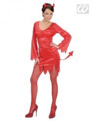 Disfarce diabinha vermelha com lantejoulas mulher Halloween