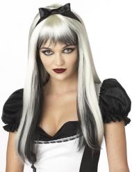 Peruca branca e preta com cabelos compridos adulto