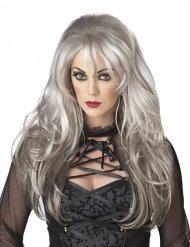 Peruca cabelos compridos cinzentos mulher