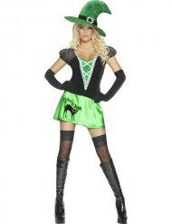 Disfarce bruxa sexy verde e preta mulher