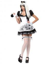 Disfarce Alice vestido preto e branco sexy Halloween