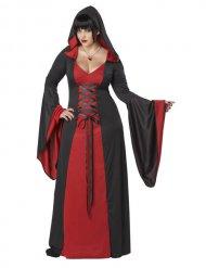 Disfarce vestido maléfico com capuz tamanho grande