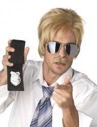Peruca loira e bigode agente secreto homem